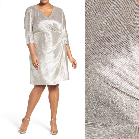 Tahari Dresses Silver Wrap Dress Plus Size Poshmark